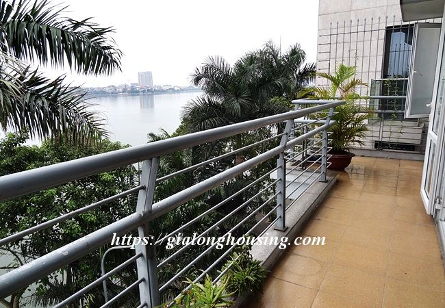 Lake front unfurnished house with car garage, Dang Thai Mai 1