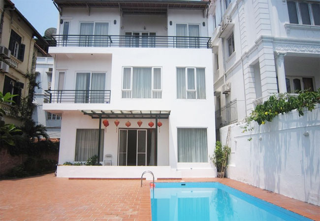 Lake view swimming pool villa for rent in To Ngoc Van,Tay Ho