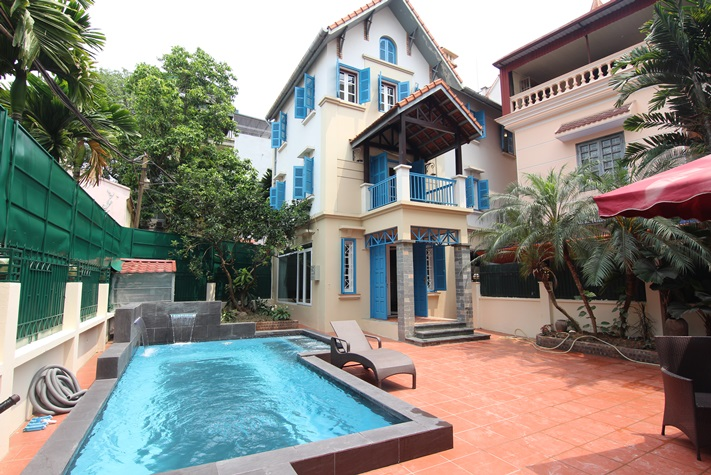 Basic furnished pool house for rent in To Ngoc Van